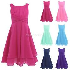 New Girls Kids Flower Dress Wedding Pageant Long Ball Gown Chiffon Prom SZ 4-14