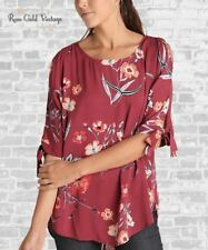 NWT Boutique Umgee Floral Tie Sleeve Tunic - Burgundy - S, M, L, XL, 1X & 2X