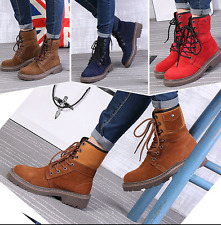 Mens womens Suede Lace Up Round Toe High Top Ankle Boots Militray Army Shoes