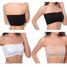 Strapless Padded Bra Lady Seamless Bandeau Boob Tube Top Plus Size Full Coverage
