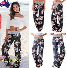 Women Floral Long Pants High Waist Loose Stretch Baggy Wide Leg Yoga Trousers