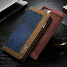 Vintage Leather Magnetic Cover Flip Stand Card Wallet Case For iPhone/Samsung