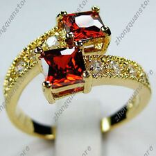Size 6,7,8,9,10 Princess Cut Red Ruby Wedding Ring 10KT Yellow Gold Filled Band