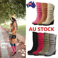Women Zipper Chunky Block Mid Calf Boots Slip On Suede Boots Winter Warm Shoes