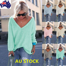 Women V Neck Long Sleeve Knitted Sweater Loose Pullover Jumper Knitwear Tops