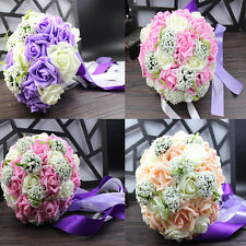 Artificial Flowers Roses Floral Bouquet Fake Seeds Wedding Party Home Decoration