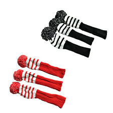 3pcs Set Black /Red Stripe cotton Sock Retro Headcover Golf Club Head Wood Cover