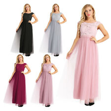 Womens Lace Tulle Wedding Dress Cocktail Bridesmaid Long Evening Prom Gown Party