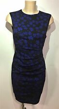 Black Blue Floral Ruch Feature Wiggle Pencil Smart Office Shift Dress Size 10-18