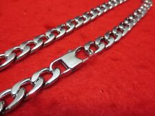 "18-36"" MENS 10MM STAINLESS STEEL SILVER 10MM CURB CHAIN NECKLACE W/SPECIAL CLASP"