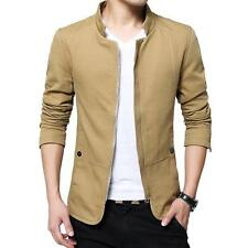 Mens Jacket Slim Fit Collar Cotton Coat Stylish Casual Outwear Jacket Full ZIp S