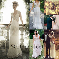 Vintage Wedding Bridal Dress Sheer Deep V Neck Backless Bohemia Lace Chiffon