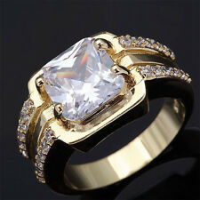 1Pc/set Women White Topaz Gems 18k Yellow Gold Filled Rings Marriage New Jewelry