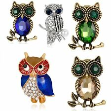 Retro Owl Crystal Rhinestone Sapphire Glass Pearl Brooch Pin Women Lady Jewelry