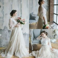 Bohemian Wedding Dress Beaded Crystal 3/4 Sleeves Summer Bridal Gown A Line Boho
