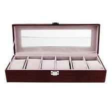6 Grid PU Leather Watch Case Box Storage Display Box Transparent Glass Cover