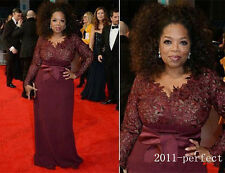 Burgundy Long Sleeve Mother of the Bride Dress V-Neck Lace Sheath Celebrity Gown