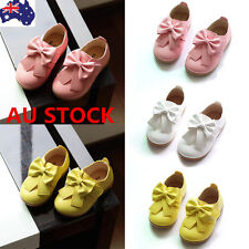 AU Baby Girls Toddler Infant Leather Loafers Bowknot Princess Slip On Flat Shoes