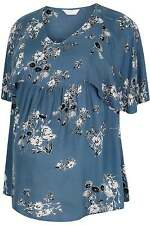 YoursClothing Plus Size Womens Bump It Up Maternity Floral Print Cape Blouse