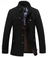 Mens Slim Fit Winter Trench Coat Wool Long Jacket Outerwear Overcoat Parka 3XL