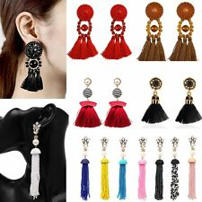 Fashion Boho Crystal Dangle Stud Earrings Women Long Tassel Beads Fringe Jewelry