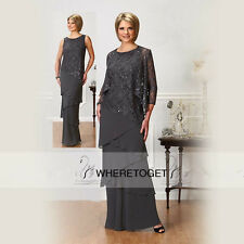 Gray Long Sleeve Mother Of The Bride Dress Suit Ankle Length Lace Chiffon Tiers