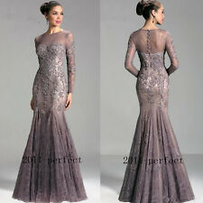 Mermaid Mother Of Bride Dress Gown Lace Applique Long Sleeve Beaded Sheer Neck