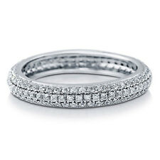 Sterling Silver 925 CZ Pave Round Fashion Eternity Wedding Band Ring Sz 4-10