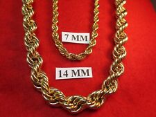 "24""-36"" HIP HOP 14 MM 14KT EP HEAVY RUN DMC HIP HOP  BLING ROPE CHAIN NECKLACE"