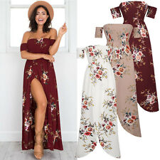 UK Womens Off Shoulder Floral Slit Sundress Ladies Summer Party Long Maxi Dress