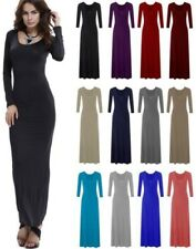 NEW WOMENS LADIES LONG SLEEVES FLARED PLAIN LONG STRETCHY MAXI DRESS PLUS SIZE