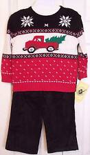 NWT Good Lad Boy's 3 Pc Holiday Sweater & Cords Outfit, 3T, $44