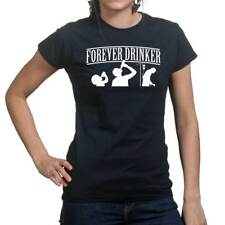 Forever Drinker Drinking Glass Ladies T shirt Tee Top T-shirt