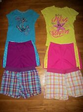 FADED GLORY 3 PC ANCHOR STAR TOPS & PLAID SHORTS SET GIRLS OUTFIT SZ XL 14 16