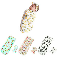 Toddler Newborn Baby Swaddle Blanket Soft Sleeping Swaddle Muslin Wrap Headband