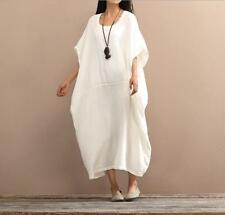 Womens Summer Flax Dresses Loose Maxi Linen Vintage Cotton Blend Casual Dresses