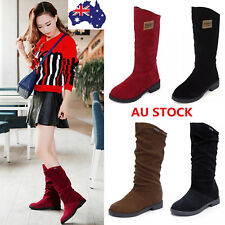 Winter Women Mid Calf Boots Over Knee Boot Suede Fur Lined Low Heel Casual Shoes
