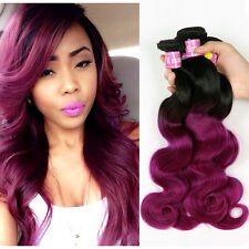 Body Wave Black To Purple Two Tones Ombre Brazilian Human Virgin Hair Weft