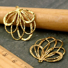 Solid Brass Vine Leaf Earing Charm 25mm Gold Sterling silver plated 4pcs be16