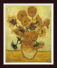 Vase with Fifteen Sunflowers, 1889 by Vincent Van Gogh Framed Painting Print