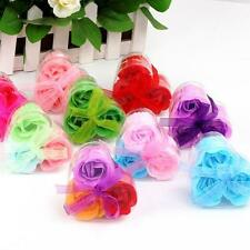 3Pcs Scented Rose Flower Petal Bath Body Soap Wedding Party Gift Soap Flowers
