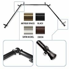 """13/16"""" Bay Window Curtain Rod  20""""-36"""", 38""""-72"""" - choose from 4 colors"""