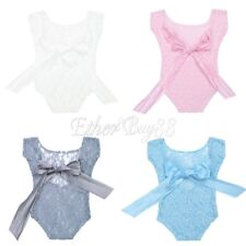 Newborn Baby Girl Lace Floral Jumpsuit Romper Hat Photo Prop Photography Costume