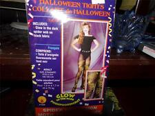 HALLOWEEN TIGHTS GLOW IN THE DARK YELLOW SPIDER WEBS GOTHIC NEAT ADULT