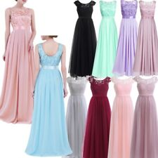 Womens Ladies Lace Chiffon Bridesmaid Wedding Dress Gown Long Evening Prom Ball