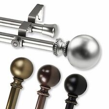 "Cleo Double Curtain Rod 3/4"" OD #83 choose from 4 color, 28""-170"""