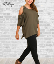 NWT Boutique Umgee Ruffle Cold Shoulder Ruffle Top - Olive S, M, L, XL, 1X & 2X