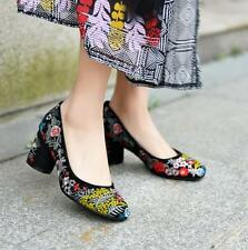 Womens embroidery floral shoes chunky high heel pump loafer National Retro suede