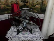 SILVER OVERLAY 3 PART DISH RARE SHAPE NEAT.  VNTG.