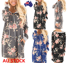 AU Women Loose Casual Floral Hoodie Dress Long Sleeve Evening Party Mini Dress